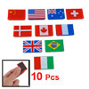 10PCS Whiteboard National Flag Pattern Rectangle Plastic Magnetic Stickers