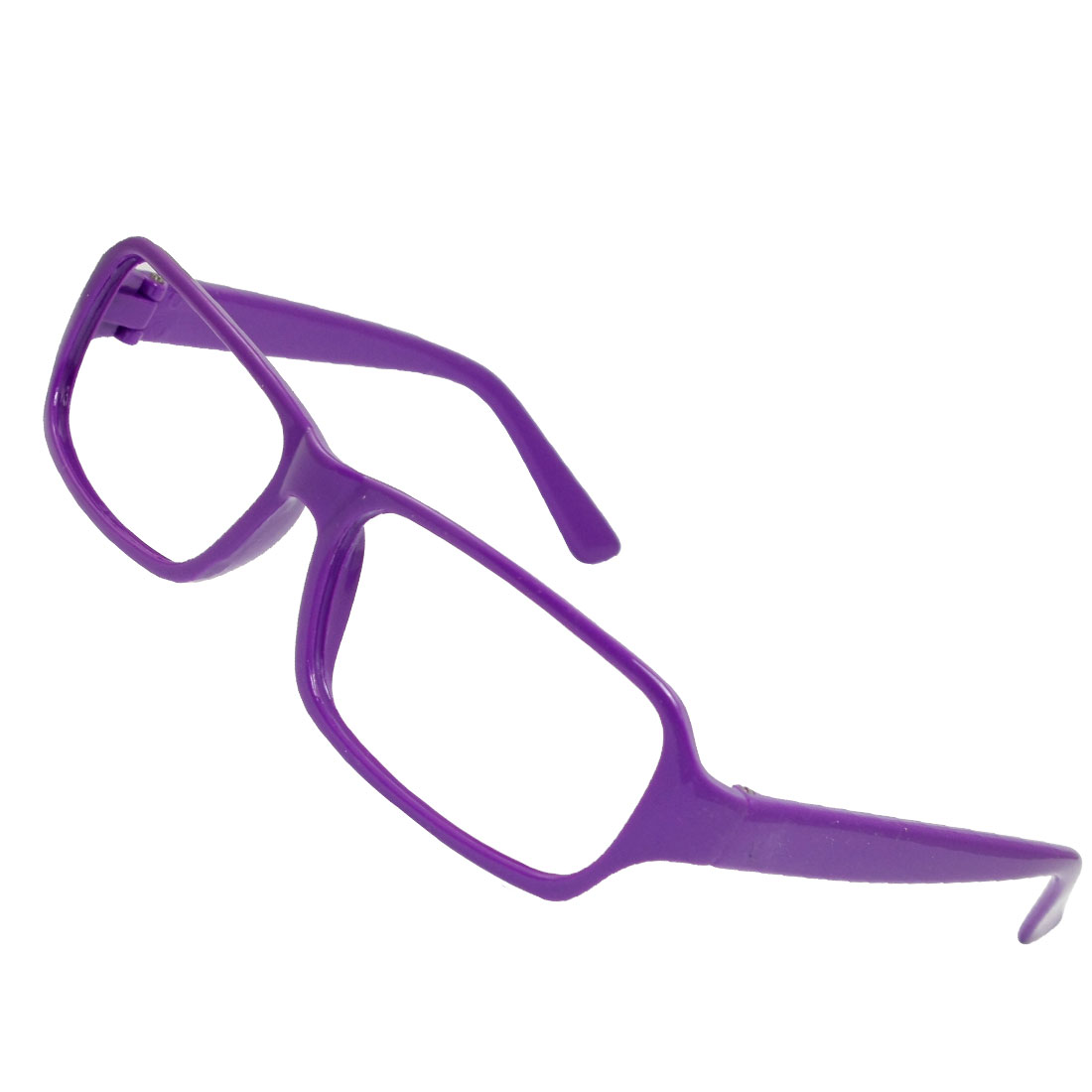 Women Purple Plastic Full Rim No Lens Eyeglasses Spectacle Frame