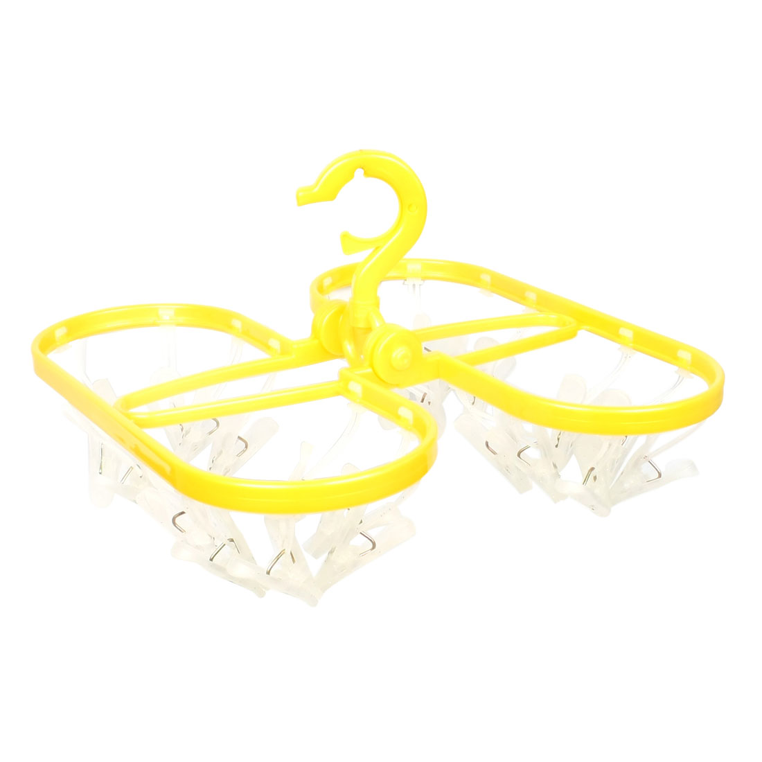 Plastic 24 Pegs Scarf Underwear Hanger Clothes Clip Yellow White