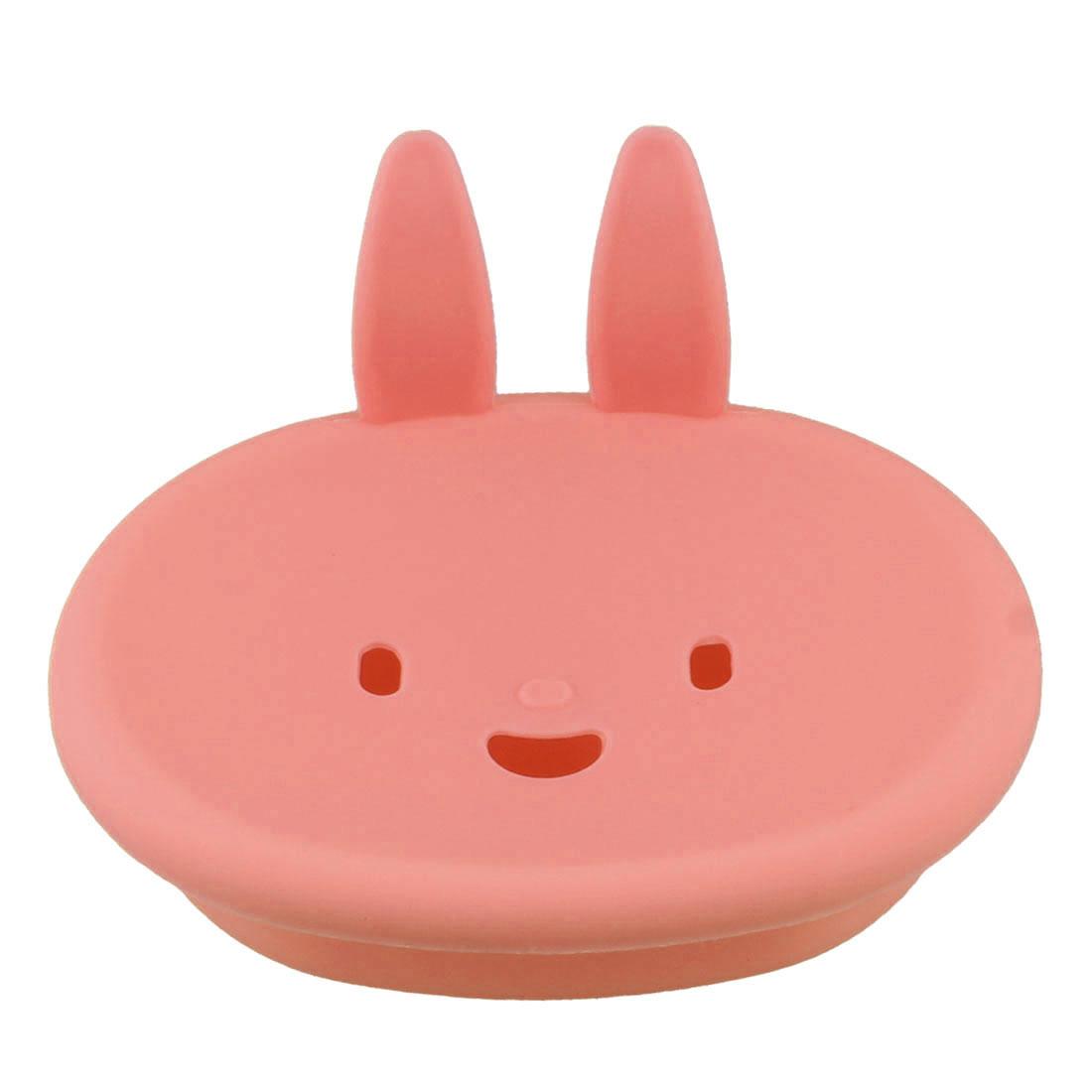 Bathroom Rabbit Design Pink Plastic Fancy Soap Holder Case Box Tray