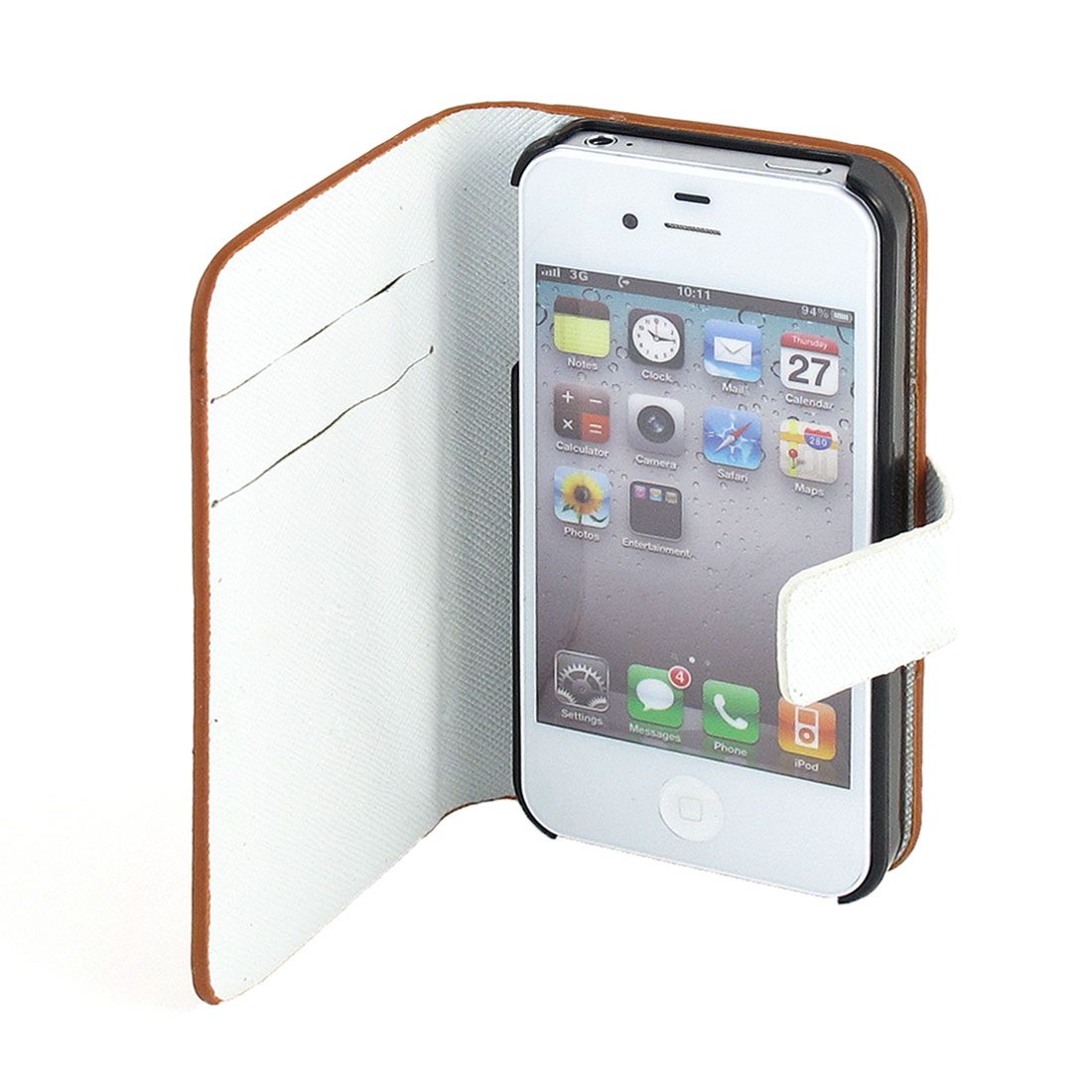 Brown Faux Leather Textured Pattern Pouch Holder for iPhone 4 4G