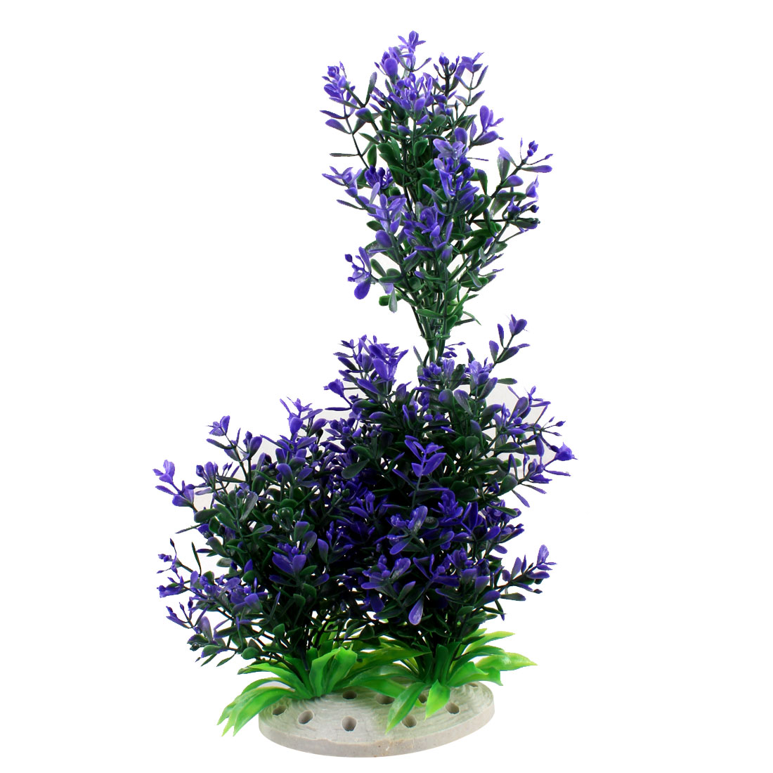 "Fish Tank Aquarium Decor Purple Green Plastic Aquatic Plant 9.8"" High"