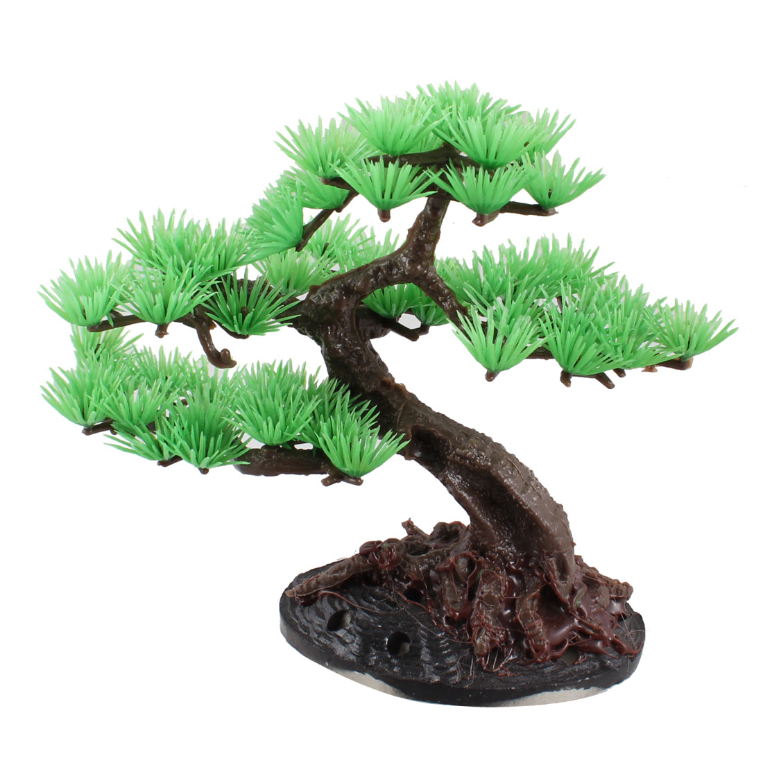 "5.1"" Height Green Brown Plastic Pine Tree Plant Decor for Fish Tank"