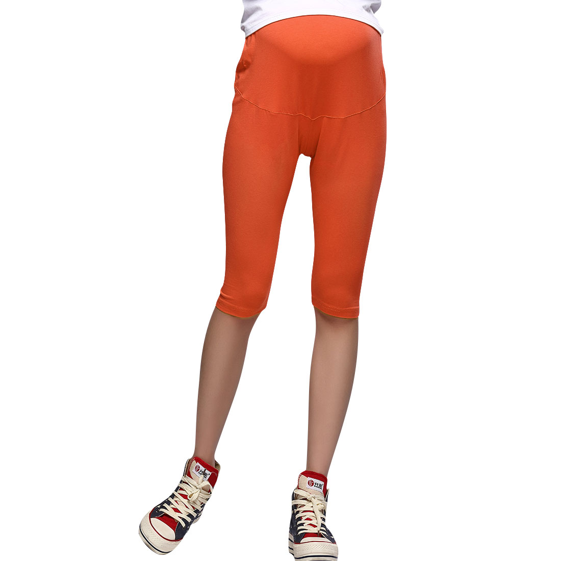 Pregnancy Orange Stretchy Form-fitting Footless Tight Leggings XS