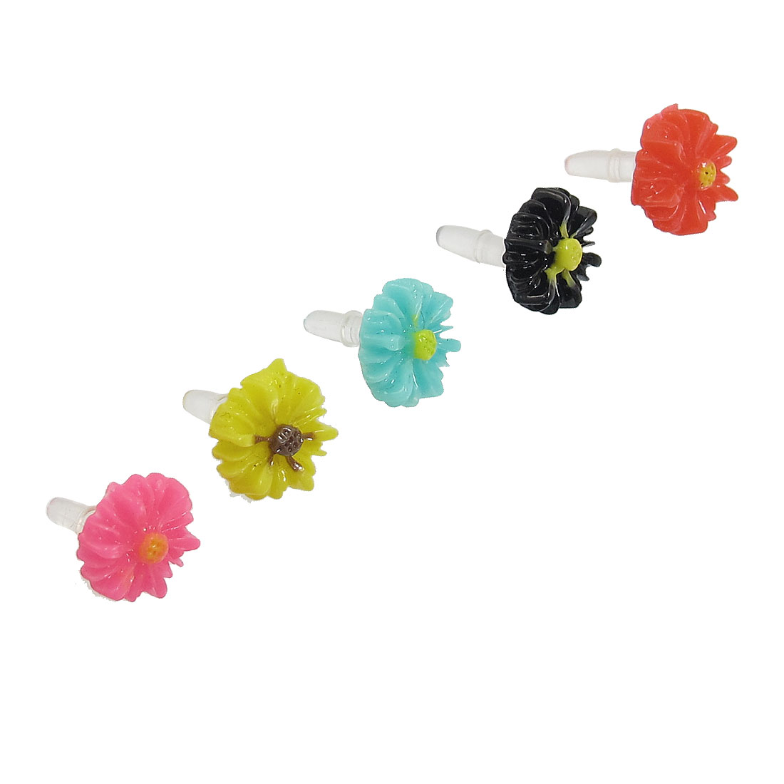 5 Pcs Colorful Daisy 3.5mm Ear Cap Dust Jack