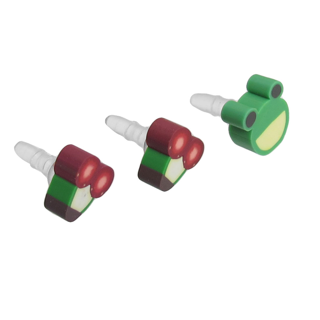3 Pcs Frog Cherry Accent 3.5mm Earphone Ear Cap Dust
