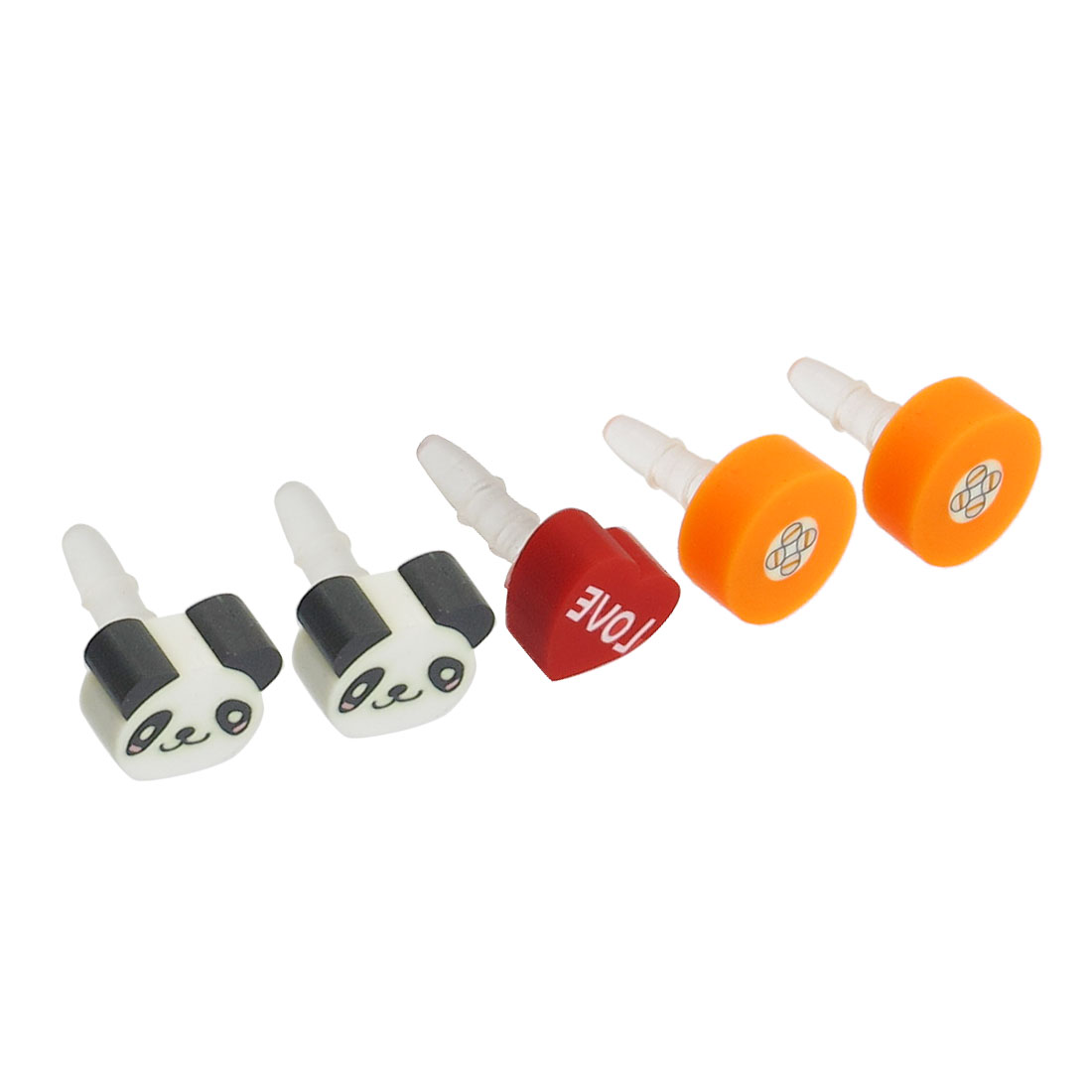 5 Pcs Heart Panda Decor 3.5mm Earphone Ear Cap Dust