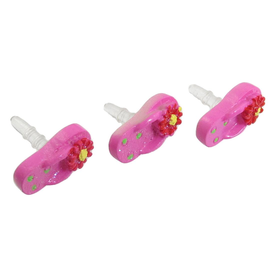 3 Pcs Fuchsia Slipper Decor 3.5mm Earphone Ear Cap Dust