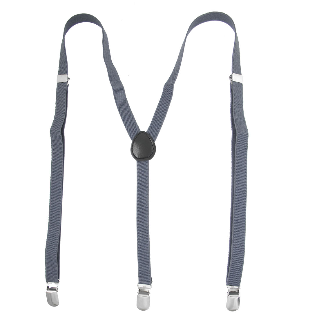 Unisex Adjustable Clasp Y Back Stretchy Suspenders Steel Blue