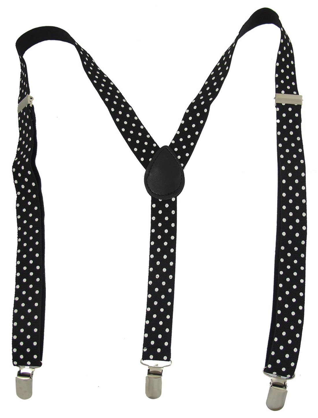 White Dots Pattern Adjustable Y-Shaped Suspender Braces Black for Women Men