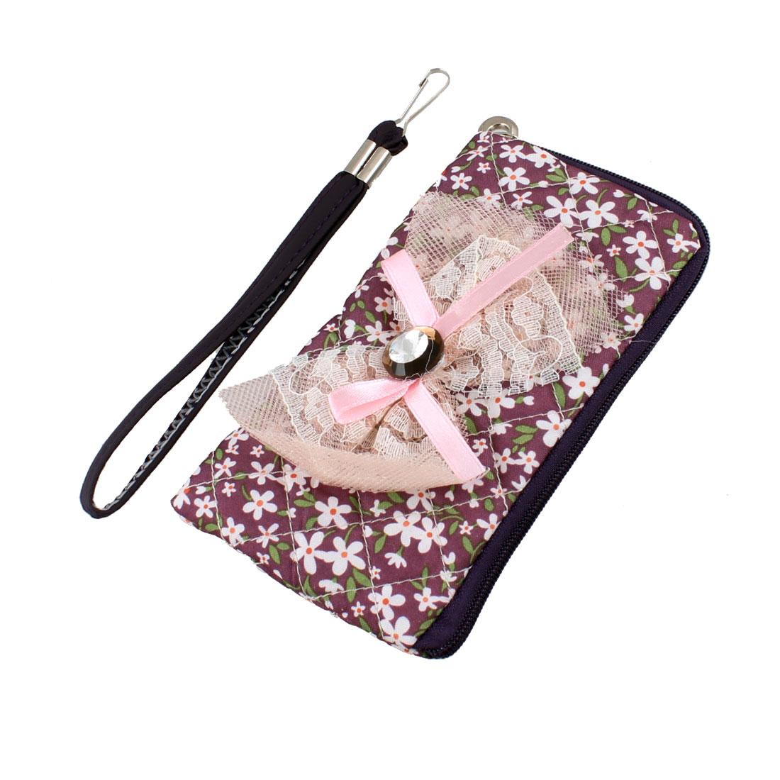 Purple Zip up Bowtie Decor Phone Purse Bag Holder for Cell Phone Mp3 Mp4
