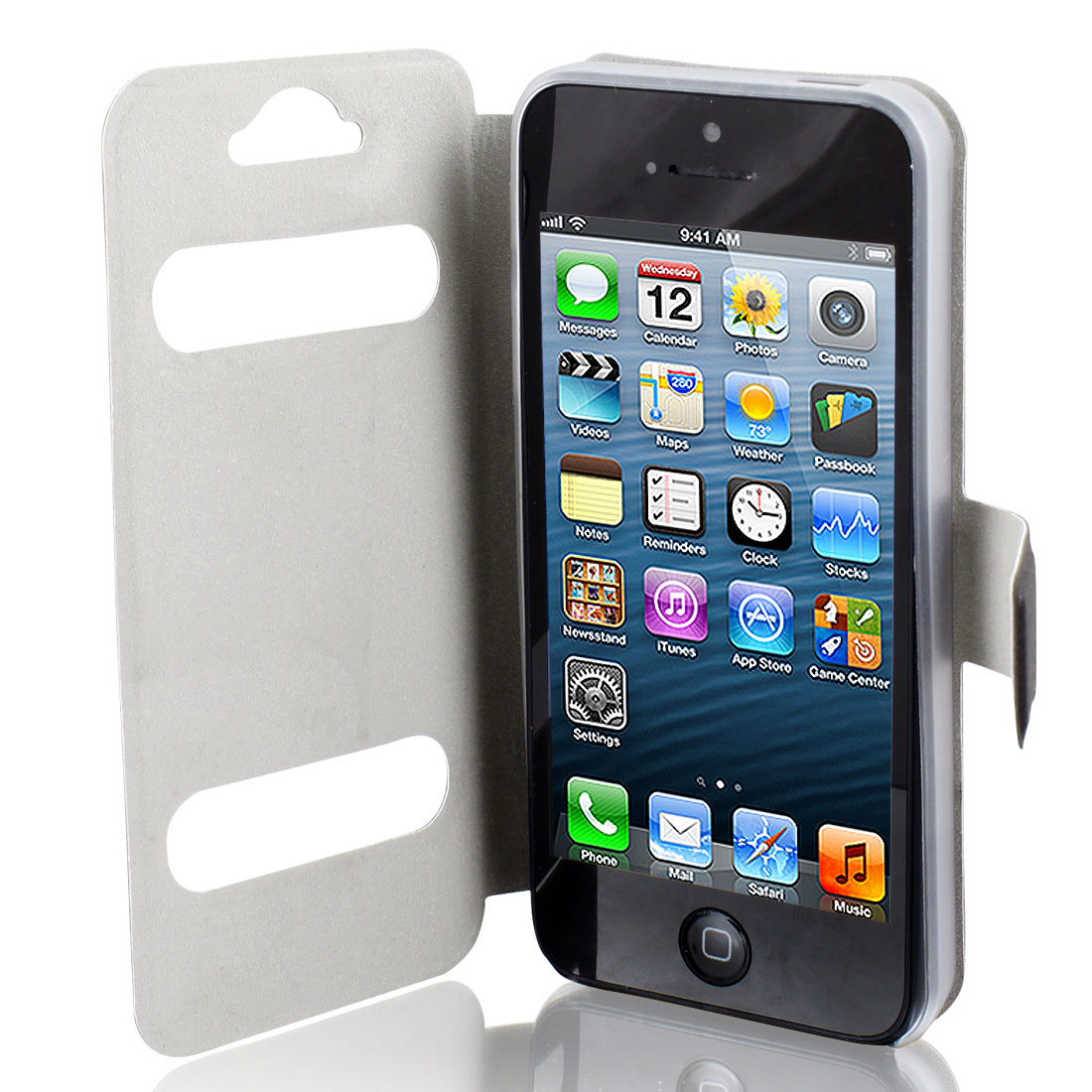Solid Black Faux Leather Protective Flip Cover Pouch Wallet for iPhone 5 5G 5GS