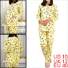 Maternity Light Yellow Round Neck Cartoon Letters Top w Adjust Waist Pants M