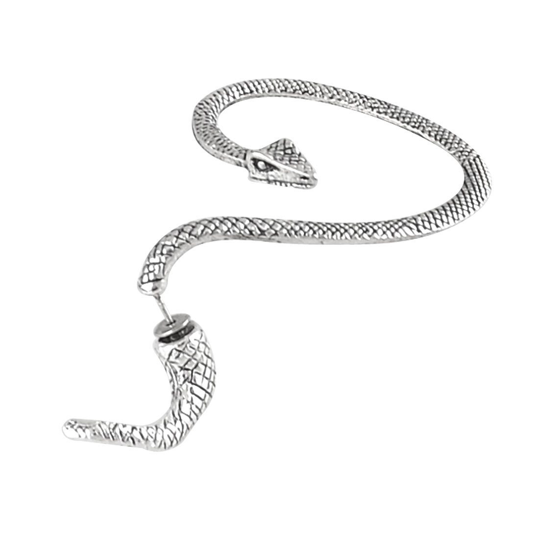 Antique Silver Tone Snake Shaped Ornament Stud Earrings Gift for Women Men