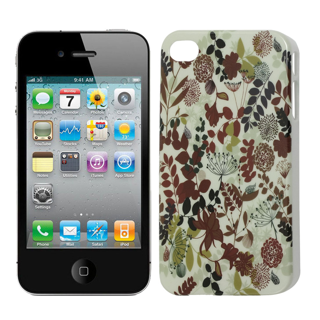Multicolor Flowers Leaves Phone IMD Hard Back Case Cover for iPhone 4 4G