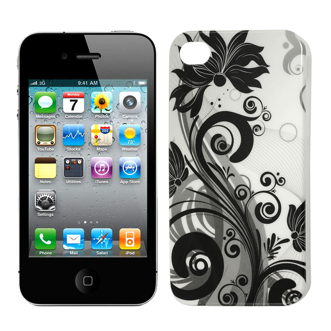 Black Gray Flower TPU Hard Soft Case Cover Protector for iPhone 4 4G