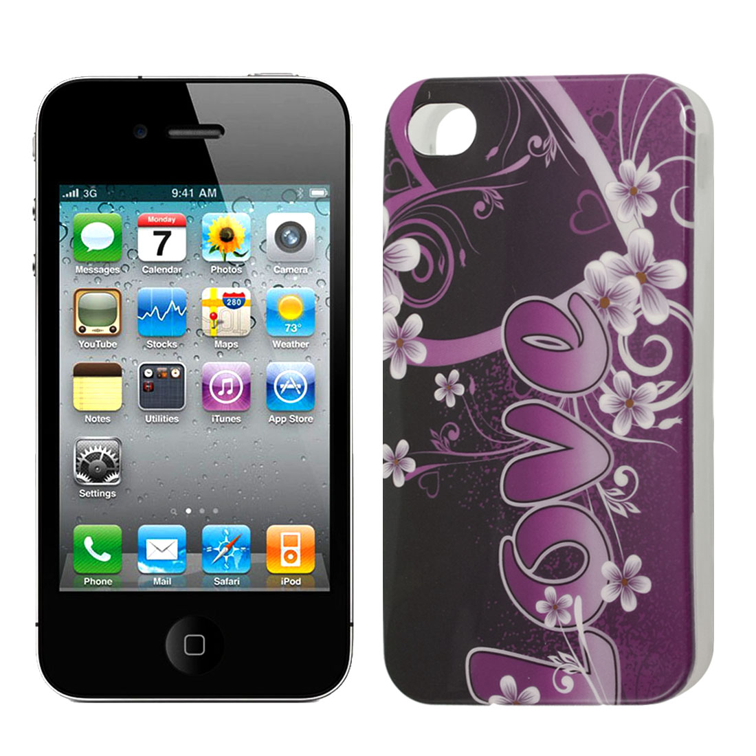 Purple Love Flower TPU Hard Soft Case Cover Protector for iPhone 4 4G