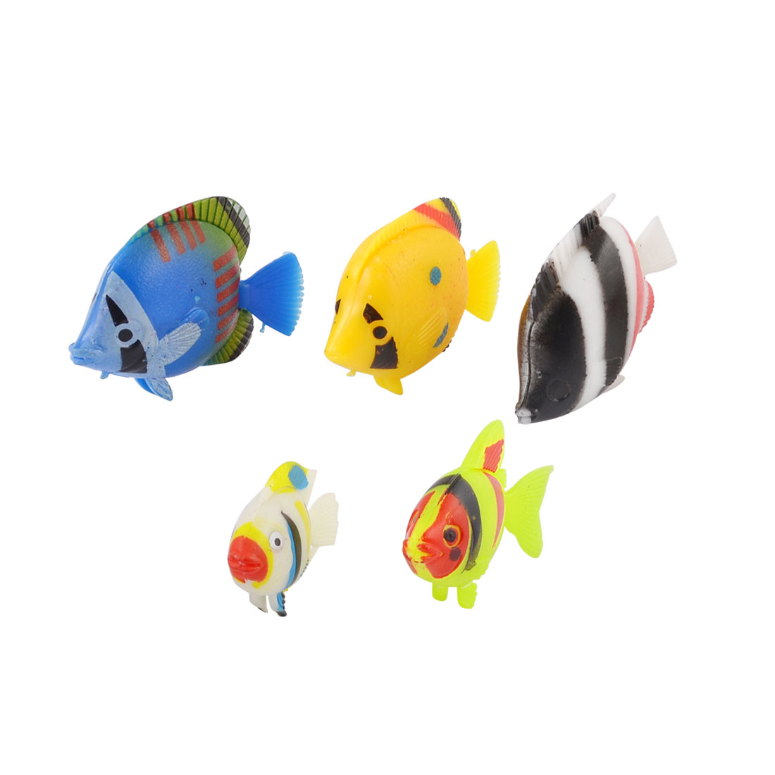5 Pcs Plastic Simulated Movable Striped Fish Ornament Yellow Black for Aquarium