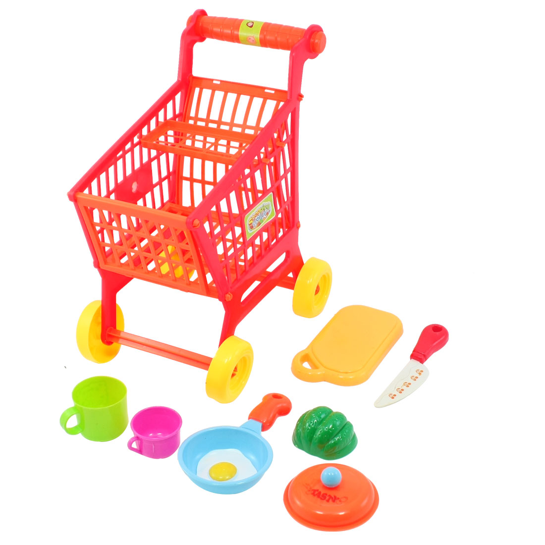 Kids Colorful Plastic Kitchenware Assemble Trolley Shopping Cart Toys