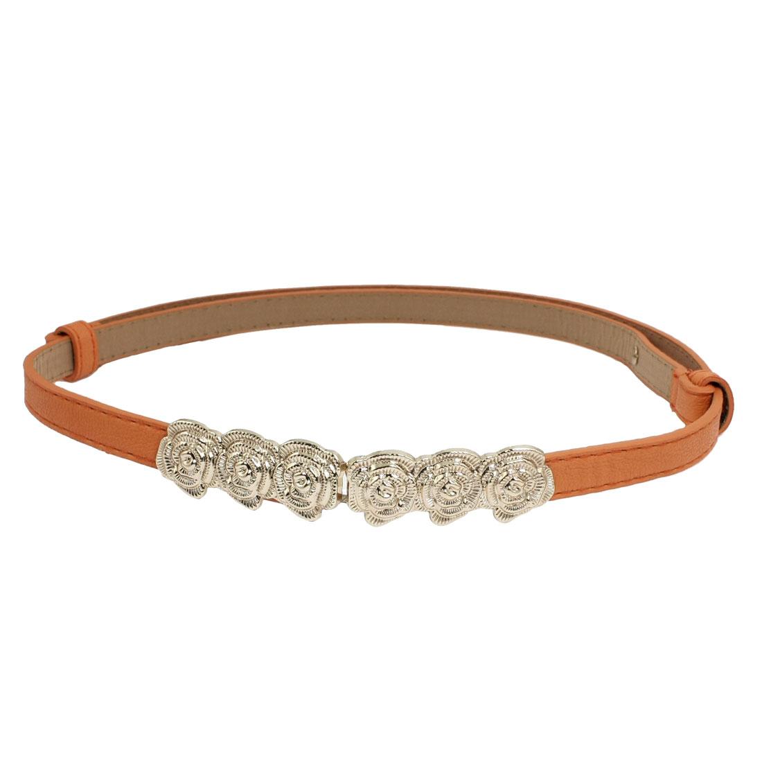 Rose Buckle Faux Leather Lichee Pattern Women Waist Belt Waistband Orange