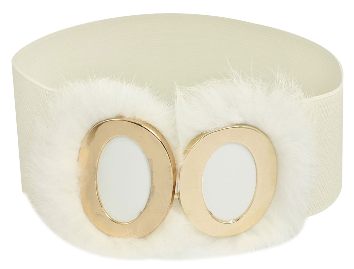 Women Faux Fur Interlock Buckle Elastic Waist Belt Cinch White
