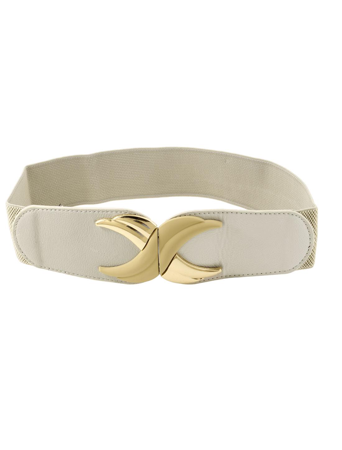 Beige Faux Leather Interlock Buckle Elastic Waist Belt Cinch for Lady
