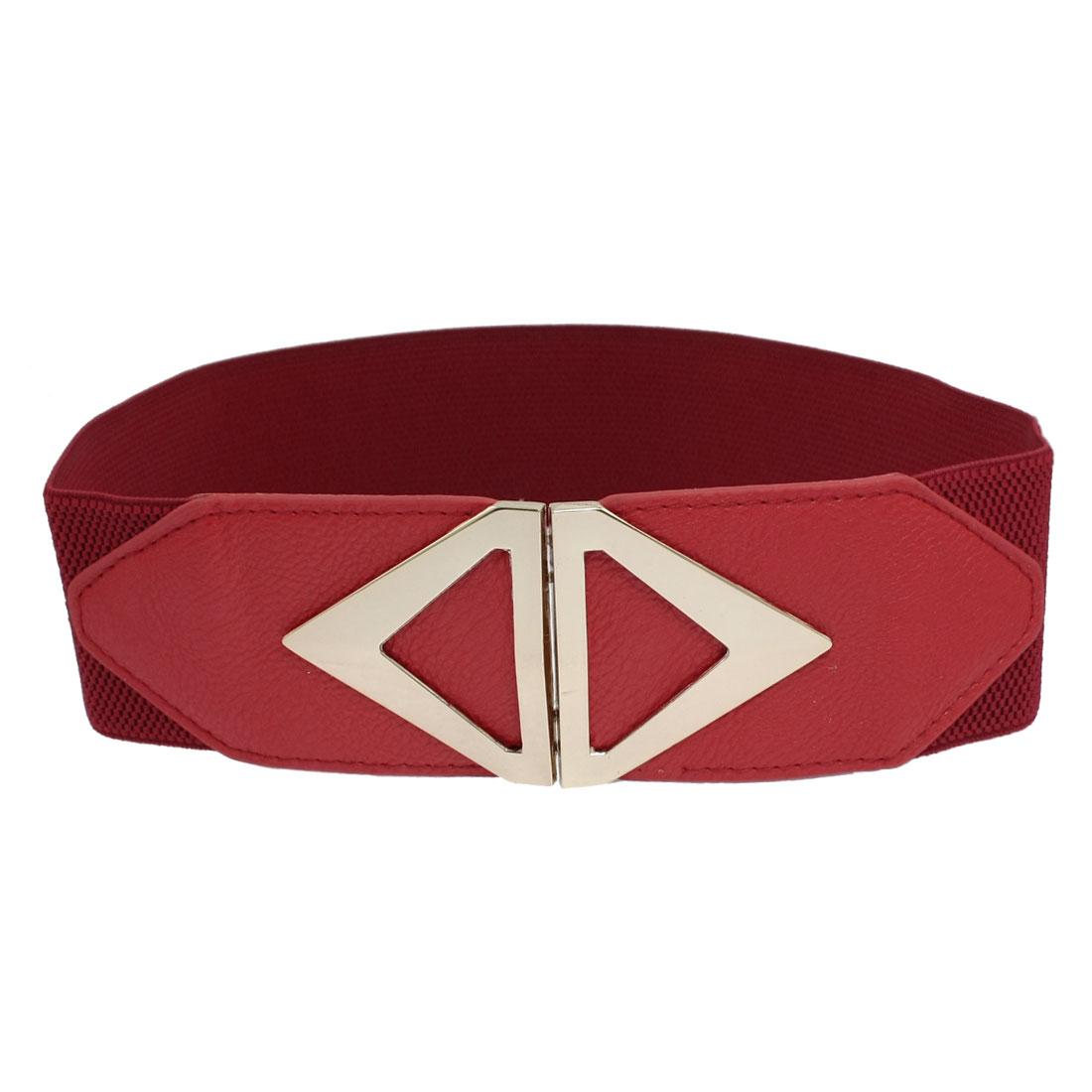 Women Fashion Metalic Rhombus Buckle Wide Red Elastic Cinch Waist Belt