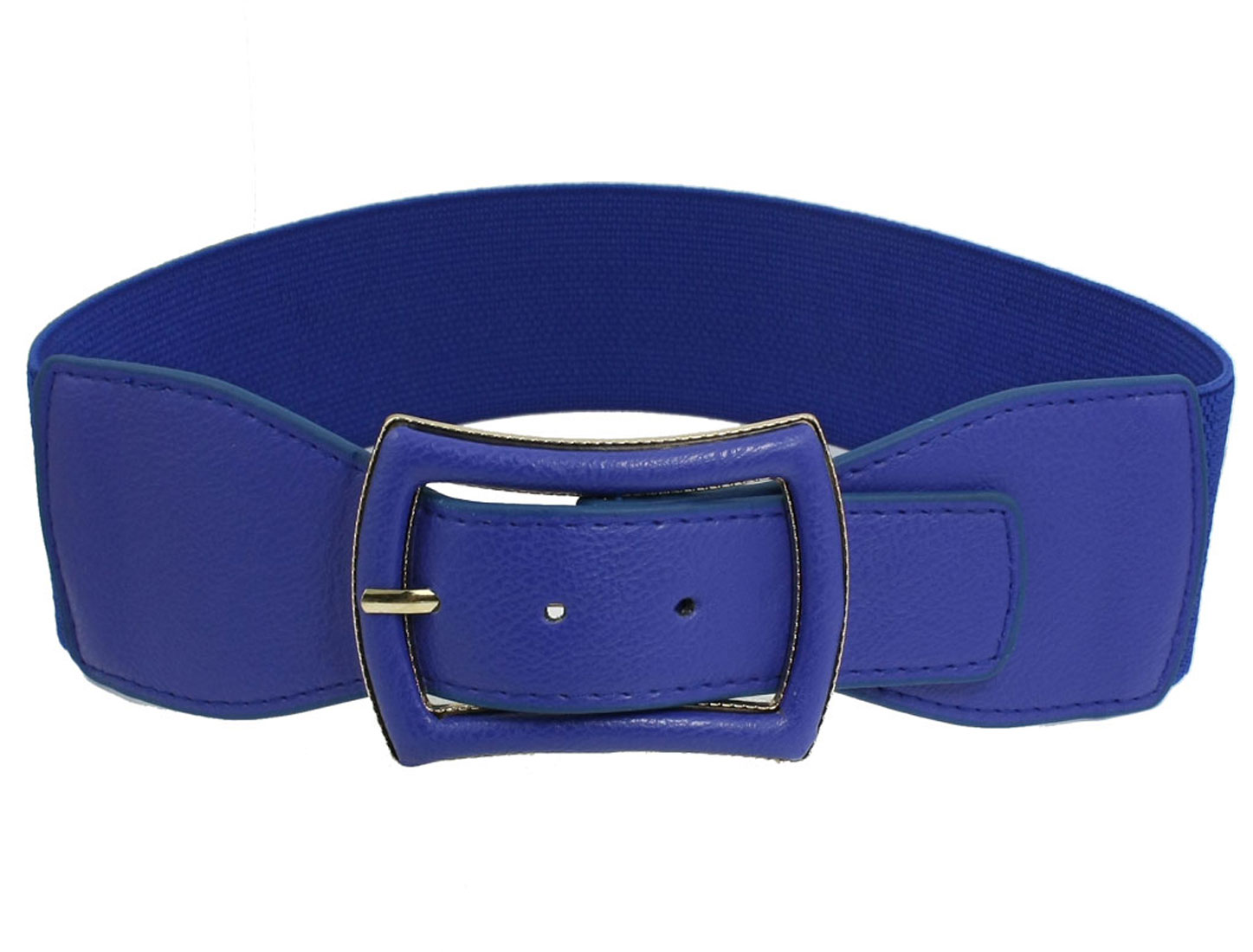 Woman Faux Leather Single Pin Buckle Elastic Waist Belt Cinch Blue