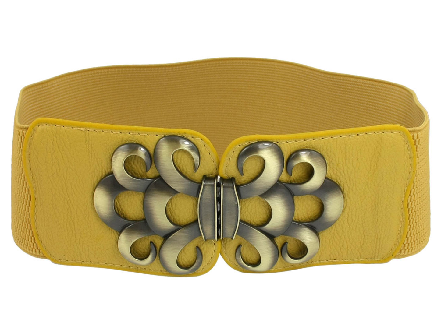 Lady Faux Leather Metal Interlock Buckle Elastic Waist Belt Cinch Yellow