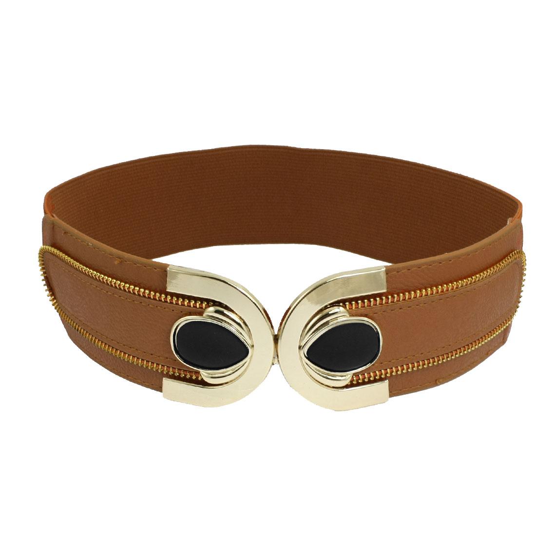 Women Rhinestone Decor Interlocking Buckle Elastic Waist Belt Cinch Brown