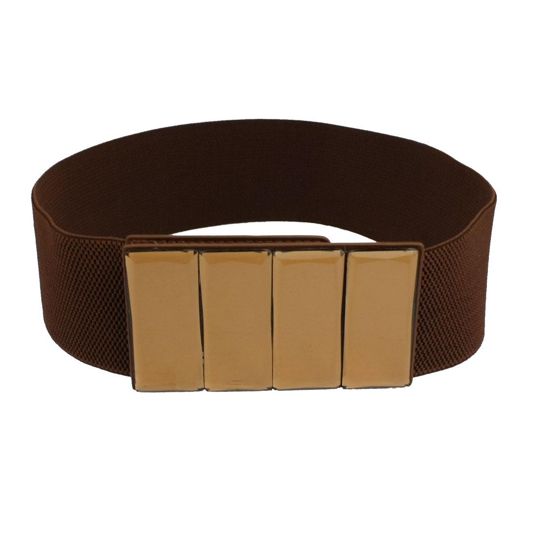 Women Faux Leather Double Row Metal Buckle Elastic Waist Belt Cinch Coffee Color