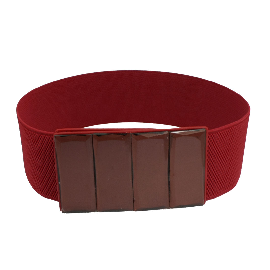 Women Faux Leather Double Row Metal Buckle Elastic Waist Belt Cinch Red