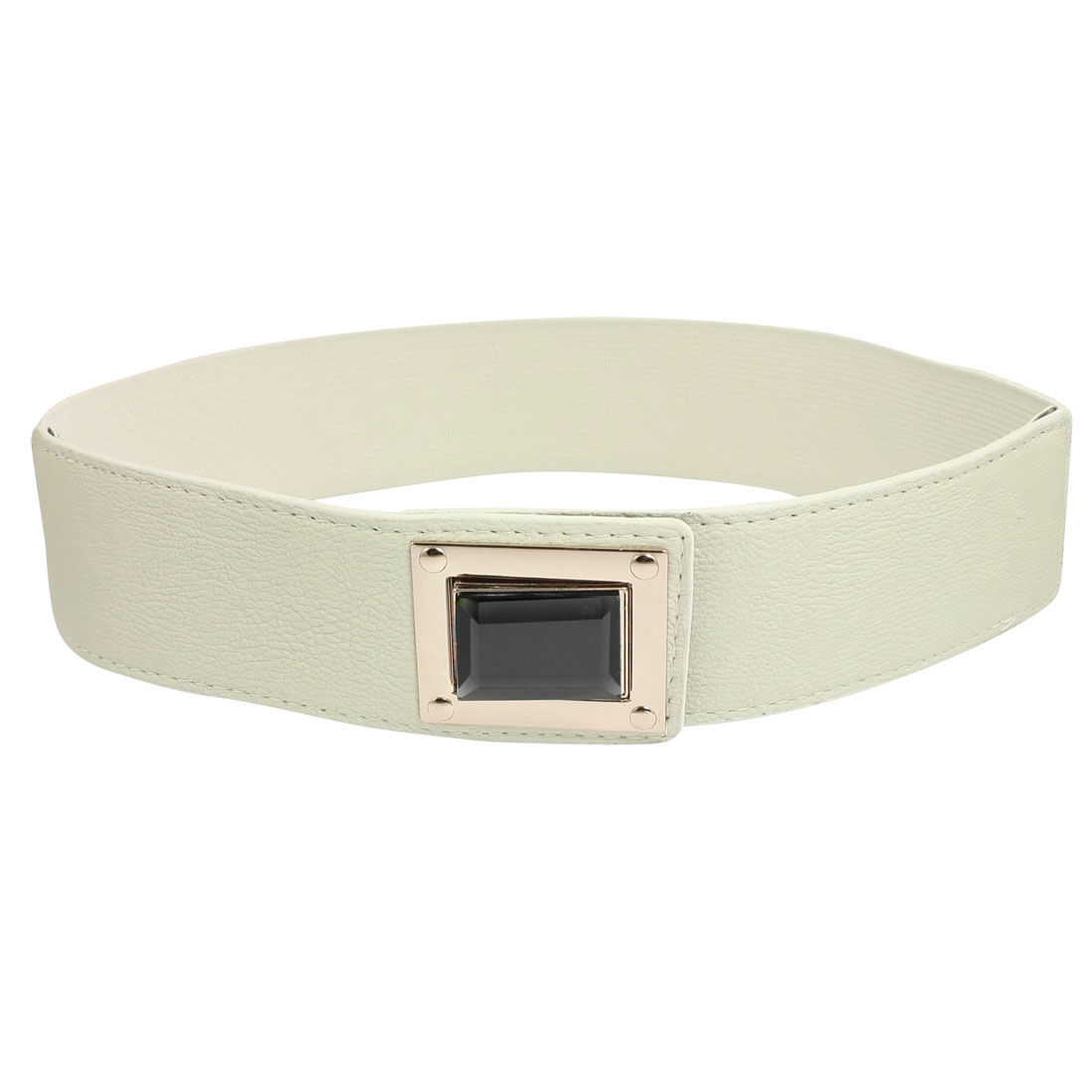 Womens Interlock Buckle Off White Stretch Cinch Waist Belt Waistband