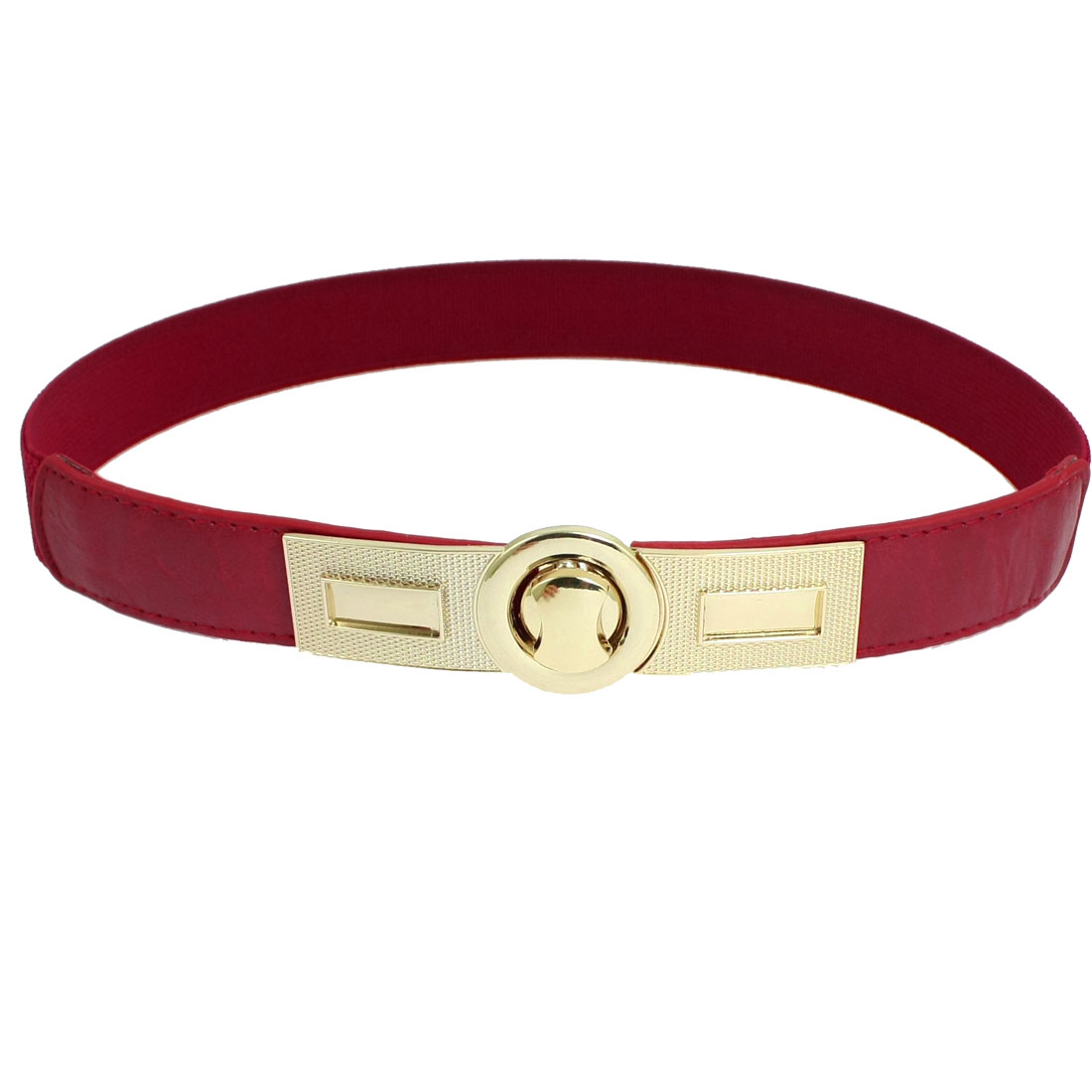 Lady Faux Leather Turn Lock Buckle Elastic Waist Belt Cinch Red
