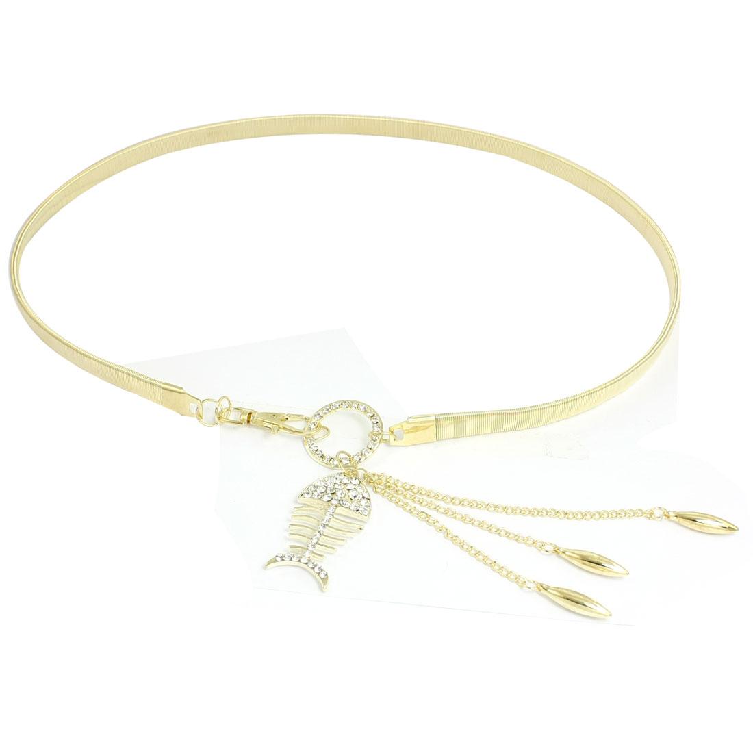 Hollow Fish Rhinestone Bead Decor Lobster Clasp Elastic Waist Belt Chain Gold Tone