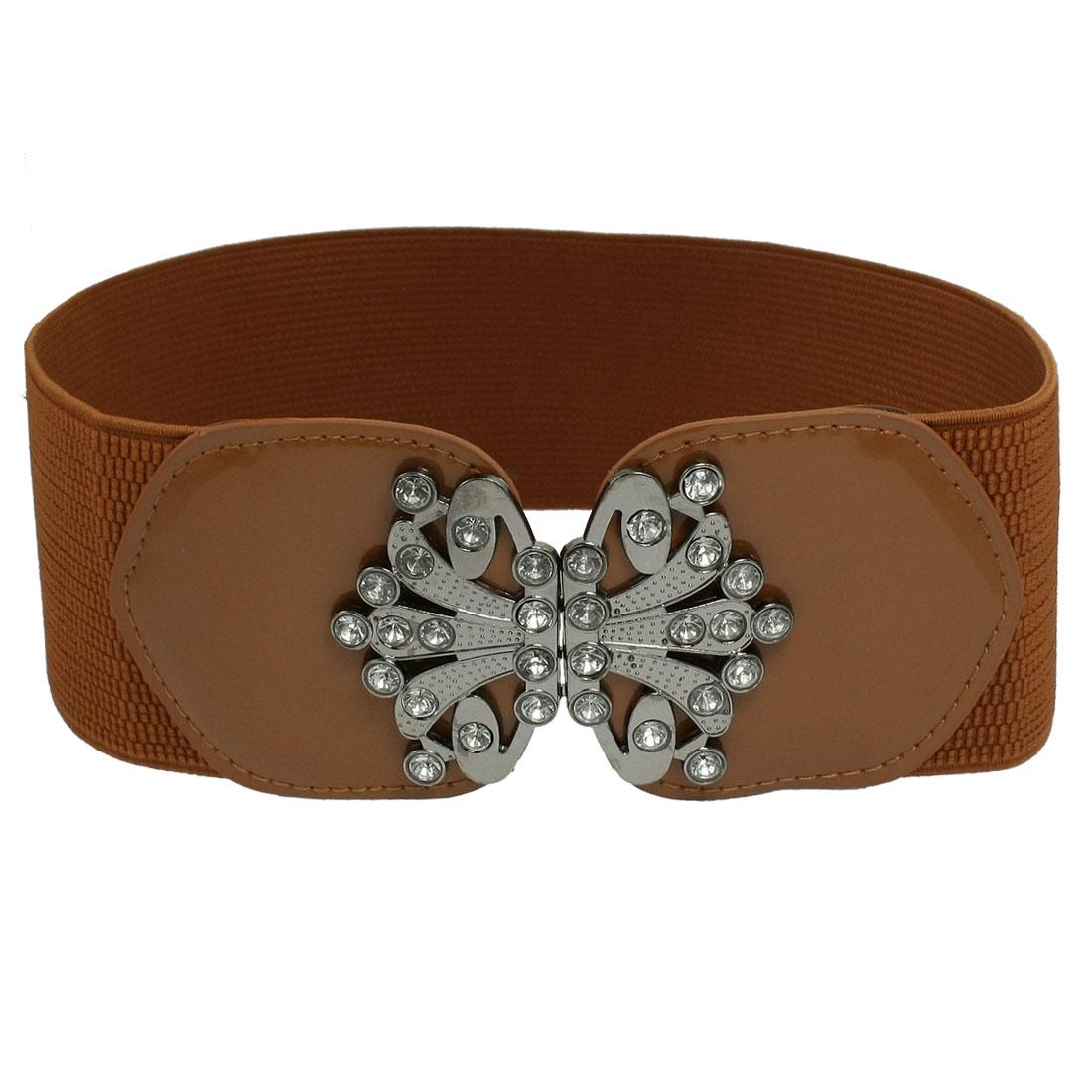 Women Fashion Metal Interlocking Buckle Brown Elastic Waist Belt Cinch