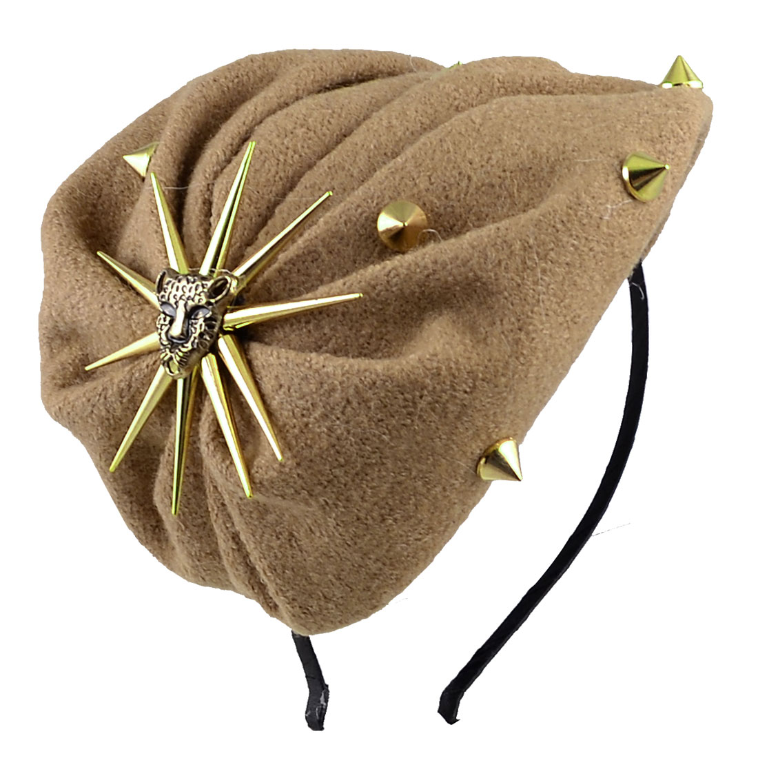 Ladies Khaki Studded Detail Plastic Frame Hair Hoop Band Headband