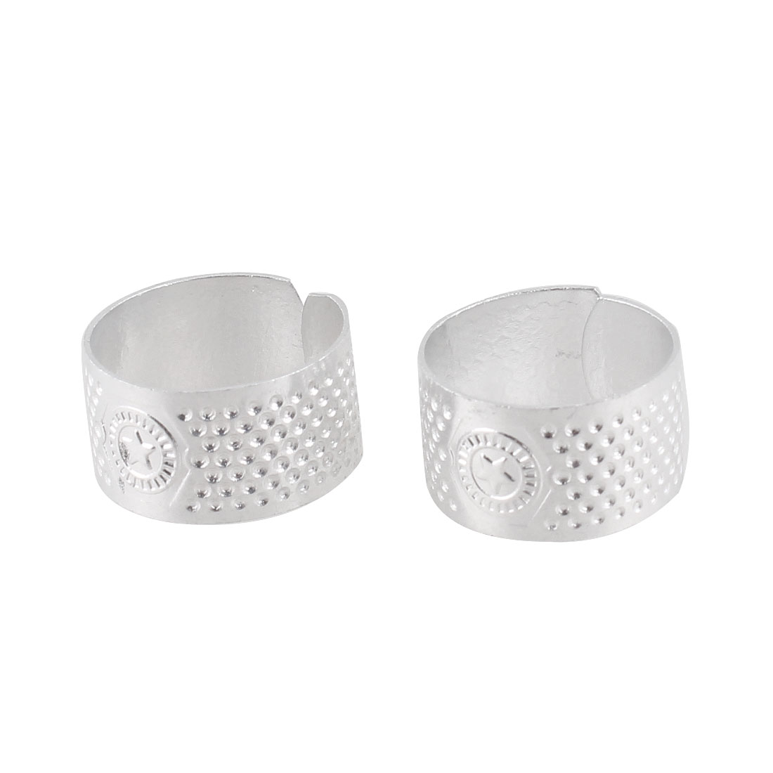 Tailors Sewing Reeded Texturing Ring Shaped Silver Tone Metal Thimble 2 Pcs