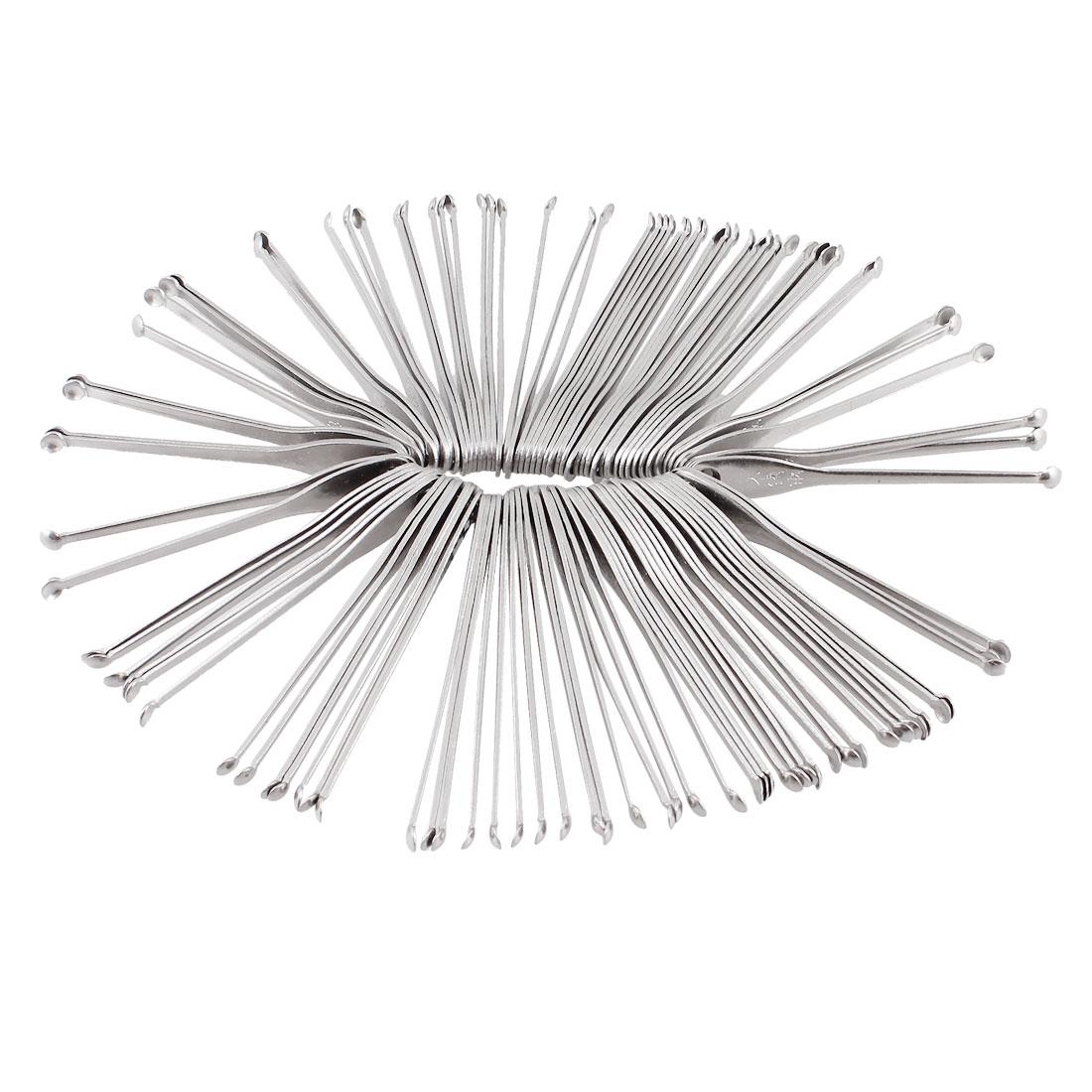 """100 Pcs Earpicks Ear Wax Remover Curette Tool Silver Tone 2.2"""""""