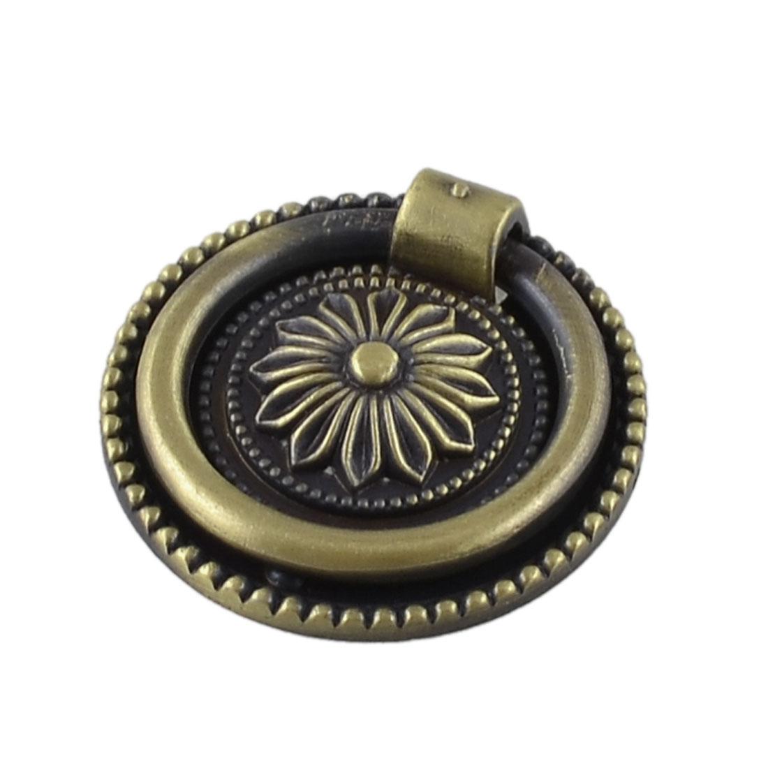 "Bronze Tone Flower Pattern 1.8"" Diameter Metal Ring Furniture Door Pull Handle Grip"