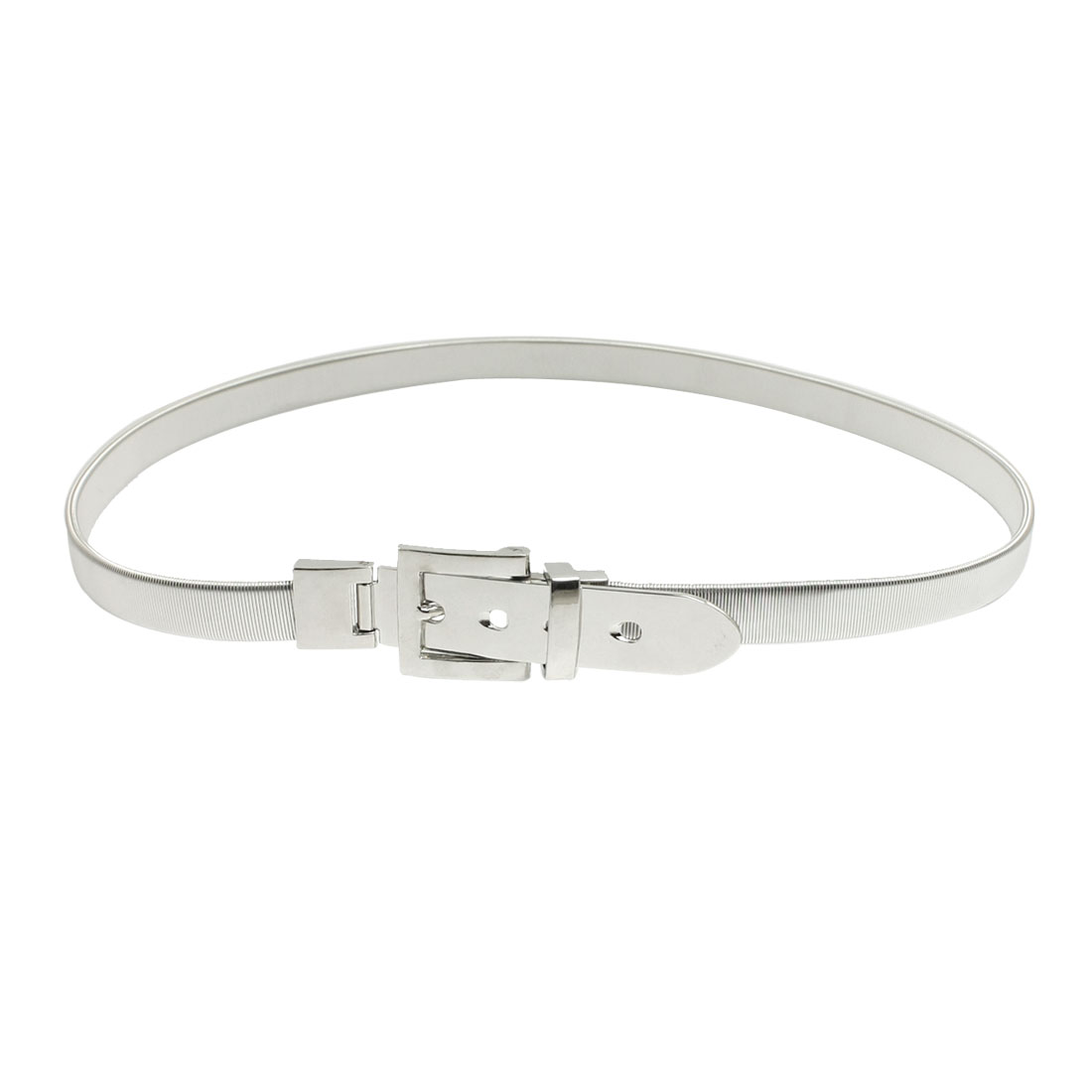 Silver Tone Metal Single Pin Buckle Elastic Waist Belt for Women