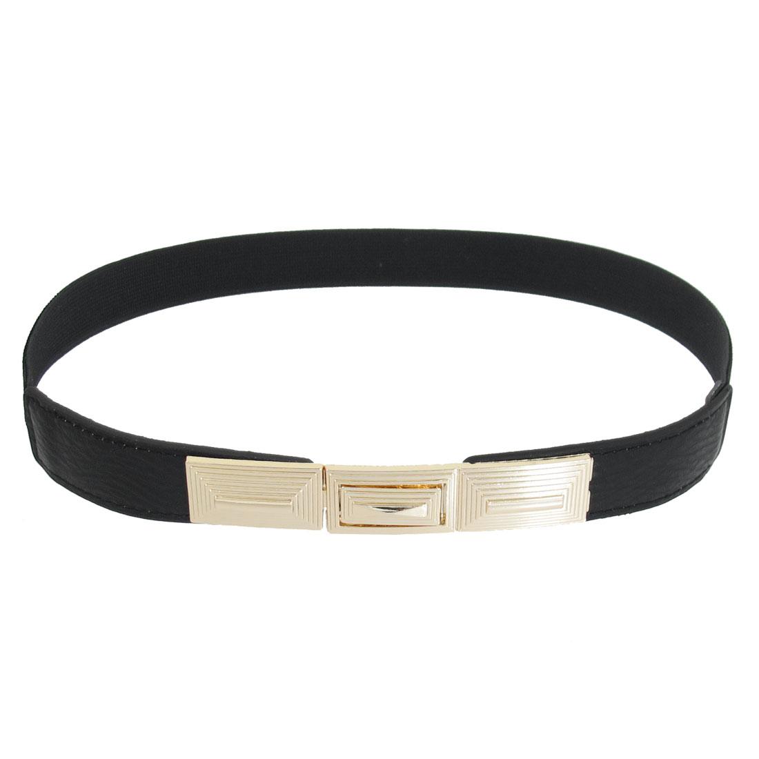 Tierd Stripes Metal Interlocking Buckle Elastic Waist Belt Black for Ladies