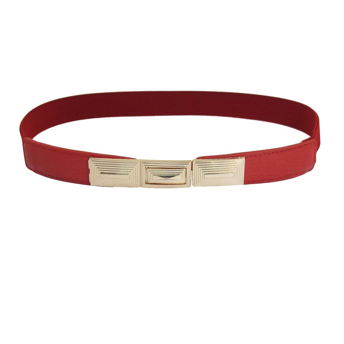Tierd Stripes Metal Interlocking Buckle Elastic Waist Belt Red for Ladies