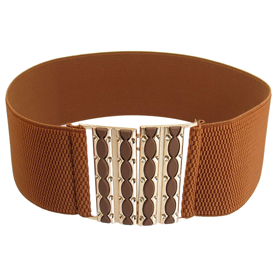 Woman Hook Buckle Closure Stretched Waist Belt Waistband Corset Band Cinch Brown