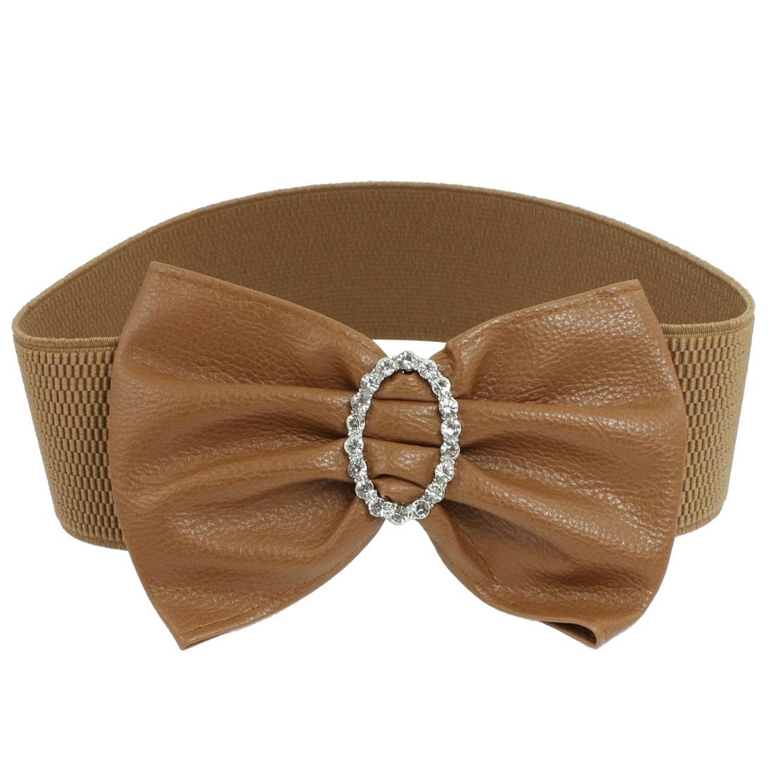 "Brown Faux Leather Bowknot Press Button Buckle 2.4"" Width Cinch Belt"