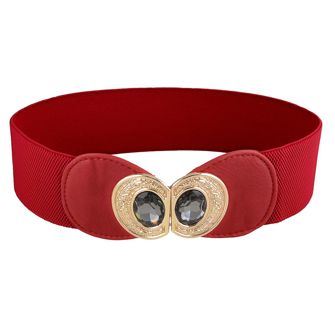 Ladies 8 Shaped Metal Interlock Buckle Textured Elastic Waist Belt Red