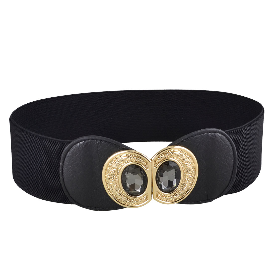 Ladies 8 Shaped Metal Interlock Buckle Textured Elastic Waist Belt Black