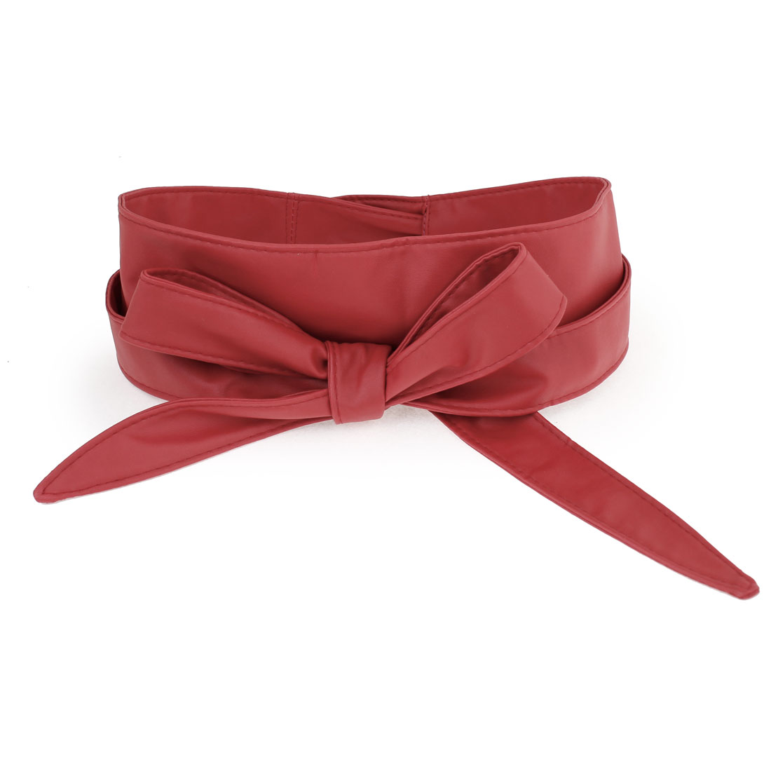 "90"" Long Red Soft Faux Leather Self Tie Style Waist Belt for Lady"
