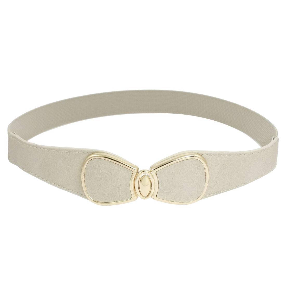 Ladies Bow Tie Interlocking Buckle Beige Stretch Cinch Waist Belt