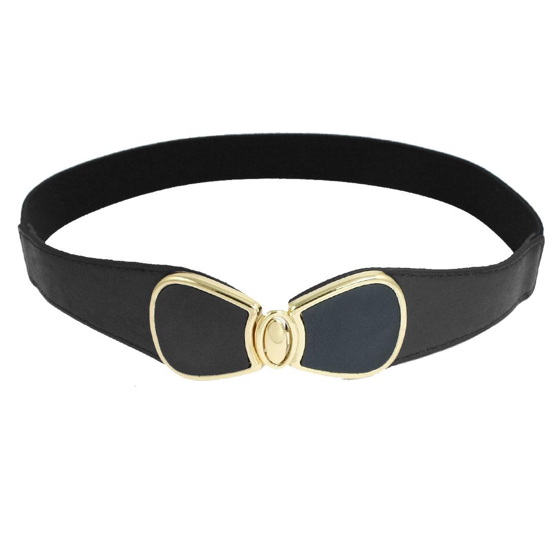 Lady Faux Leather Bowknot Interlock Buckle Strecth Cinch Belt Dark Blue